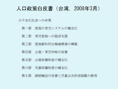人口政策白皮書(台湾,2008年3月)