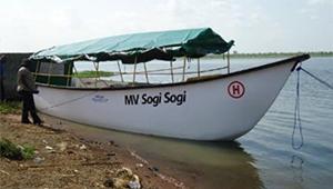 Sogi Sogi号と名づけられたRHセンター用モーターボート