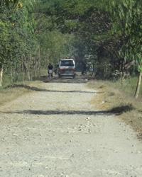 保健所へ向かうメインロード、これを外れるとガタガタのほこりまみれの村道が続く。車の窓からの景色は、一面に広がる田んぼ。